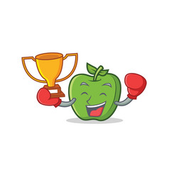 boxing winner green apple character cartoon vector image