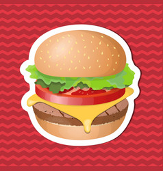 burger sticker on red striped background graphic vector image
