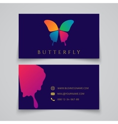 business card template butterfly logo vector image