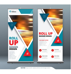 Business roll up banner stand presentation vector