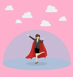 Business woman superhero with protection power vector