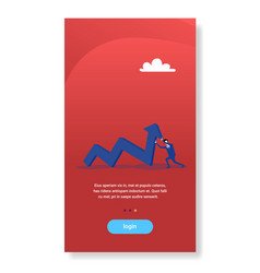 Businessman pushing financial curved line arrow up vector