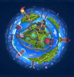 Cartoon earth model drawing 3d globe vector