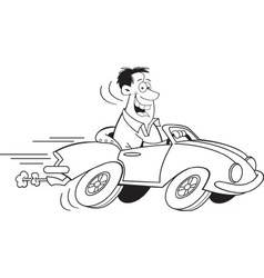 Cartoon man driving a car vector