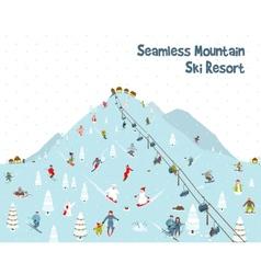 Cartoon Mountain Ski Resort Seamless Border vector