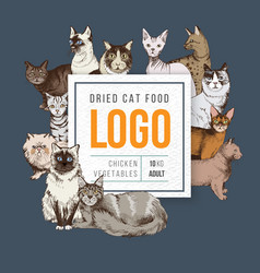 cat food emblem vector image