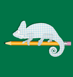 Chameleon on a pencil school subjects funny vector