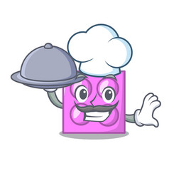 Chef with food toy brick mascot cartoon vector