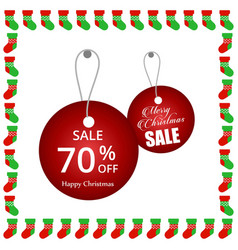 Christmas sale tags with frame vector