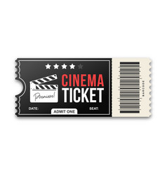 cinema ticket on white background movie ticket vector image