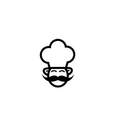 cooker with big mustache smile and wear a big hat vector image