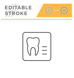Dental x-ray editable stroke line icon vector