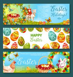 easter egg and rabbit cartoon banner set design vector image