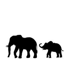 Elephant and elephant calf mammal black silhouette vector