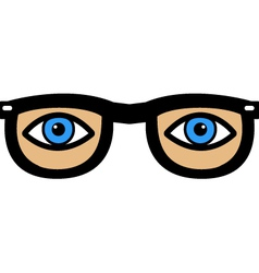 Eyes in glasses vector