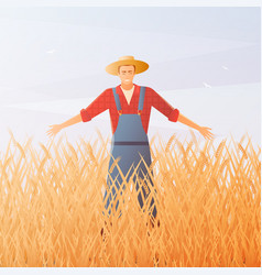 farmer and crop harvest flat composition vector image
