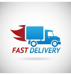 Fast Delivery Symbol Shipping Truck Silhouette vector image