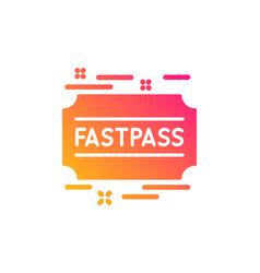 Fastpass icon amusement park ticket sign vector