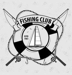 fishing sport club logo with lifebuoy vector image