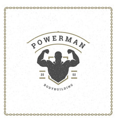 fitness gym badge or emblem vector image