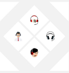 Flat icon hotline set of help operator headphone vector