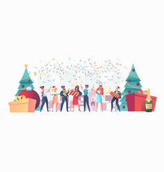 flat office workers celebrate christmas a vector image