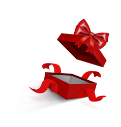 fly red open gift box with ribbon on white vector image