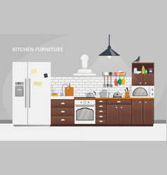 furniture design banner concept kitchen template vector image