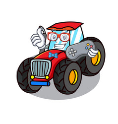 Gamer tractor mascot cartoon style vector