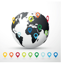 globe world map with map pin pointer location vector image