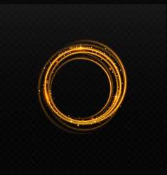 Golden light circle with shiny glow isolated vector