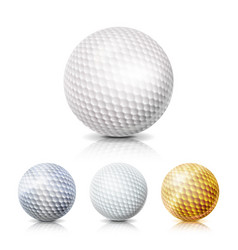 Golf ball set 3d realistic vector