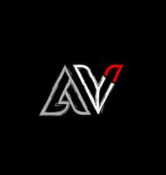 Grunge white red black alphabet letter av a v vector