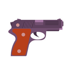 gun pistol handgun isolated icon white weapon vector image