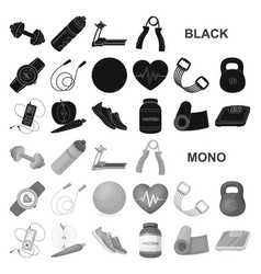 Gym and training black icons in set collection for vector