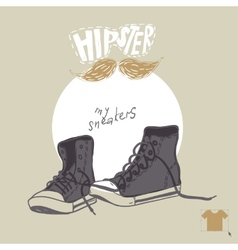 Hand Drawn Pair Of Sneakers vector image