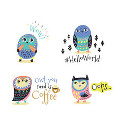 Hand drawn symbols icons with owls vector