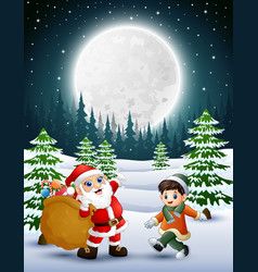 Happy christmas with santa claus holding sacks of vector