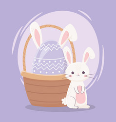 happy easter day cute rabbit and egg with ears in vector image