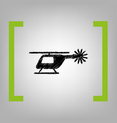 helicopter sign black vector image