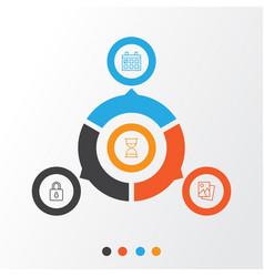 Icons set collection safeguard calendar vector
