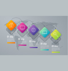 Infographic template of square elements vector