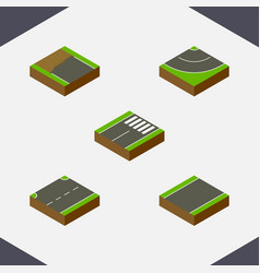 isometric way set of incomplete road footer and vector image