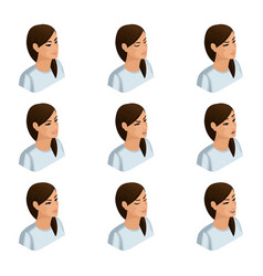 Isometry icons of the emotion of a business woman vector