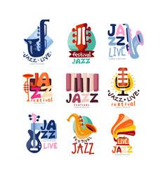 Logos set for jazz festival or live concert vector