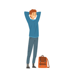 male tourist with bag smiling young man going on vector image