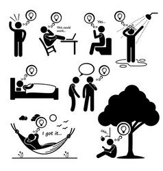 Man thought of new idea stick figure pictogram vector