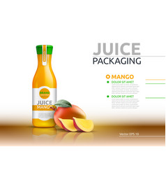 mango juice packaging realistic mock up vector image