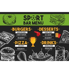 Menu sport bar restaurant food template placemat vector