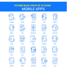 mobile apps icons - futuro blue 25 icon pack vector image